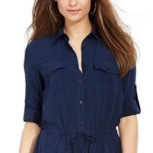 NWT $140 RALPH LAUREN navy utility shirt dress 14W